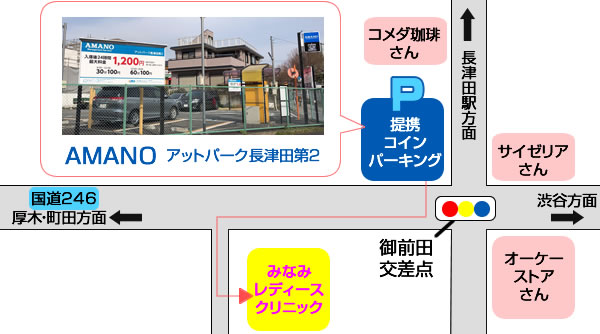 駐車場は、 アットパーク長津田第二をご利用下さいn。診療後にチケットをお出ししております。
